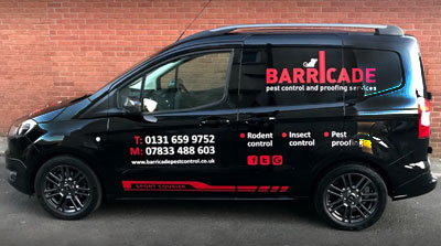 Barricade Pest Control van - with black and red livery
