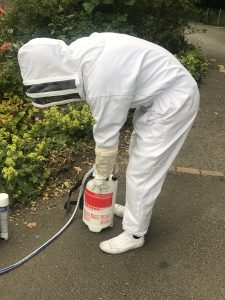 Pest control expert wearing protective clothing